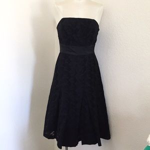 Tracy Reese Eyelet Strapless Black Dress